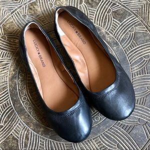 LUCKY BRAND Emmie Black Leather Ballet Flats 11W
